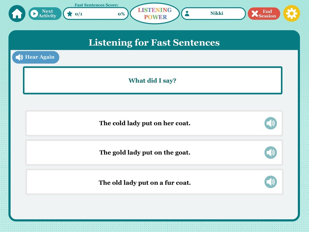 Listening for Fast Sentences